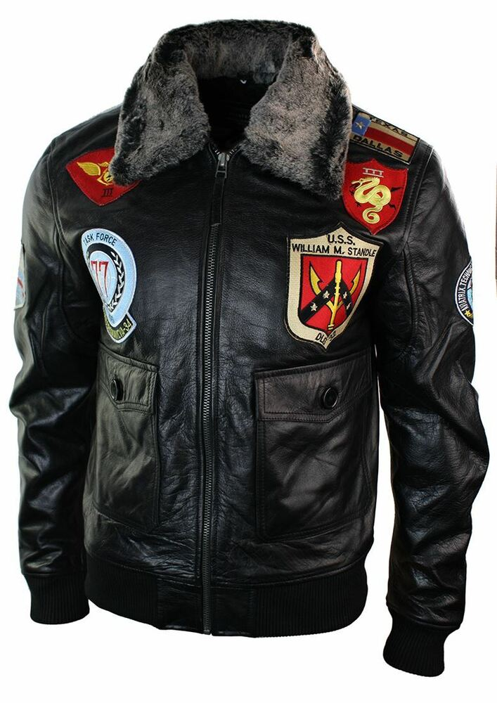 Mens Real Leather US Aviator Air Force Pilot Flying Bomber ...