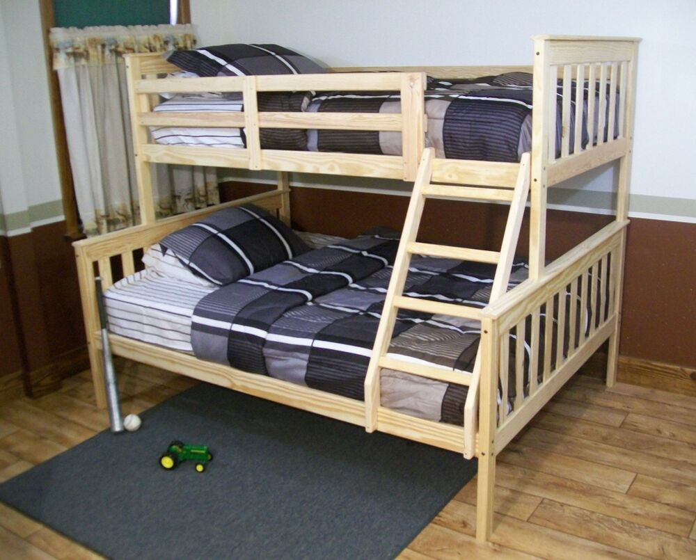 Mission style twin or full bunk beds naturally unfinished for American made beds