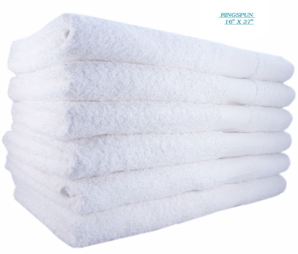 Salon Towels: 12 NEW BRIGHT WHITE RINGSPUN SOFT 16X27 3# HAND TOWELS GYM