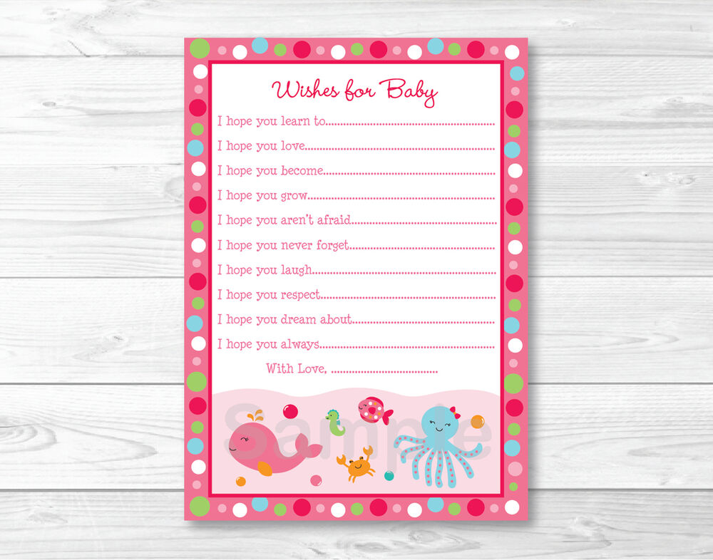 Baby Gift Under $5 : Pink under the sea printable baby shower wishes for