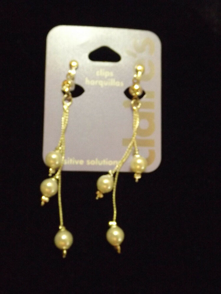 Clip On Earrings Pearl And Chain New Silver Tone Non Pierced Dangle