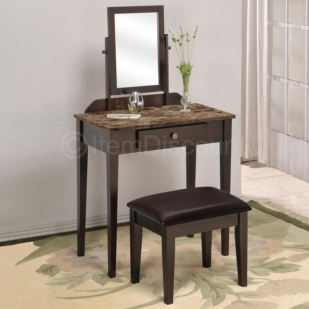 Faux Marble Top Vanity Set Table Drawer Stool Bench Hair