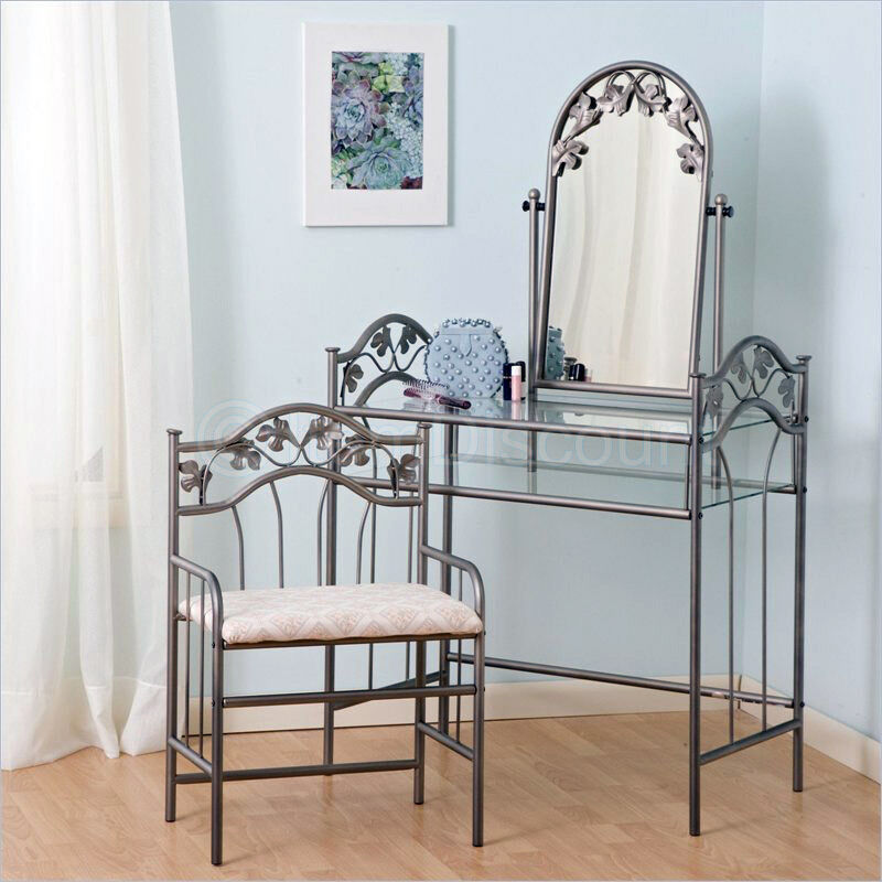 Metal Vine Leaf Bedroom Vanity Set Table Chair Hair Makeup Mirror Glass Shelf