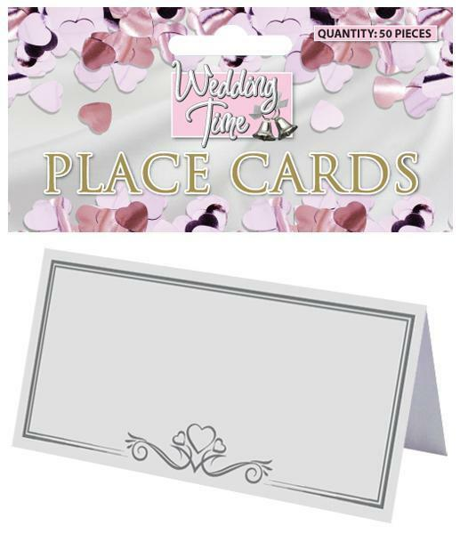 Pack 50 white place cards wedding christening party table for Design table name cards