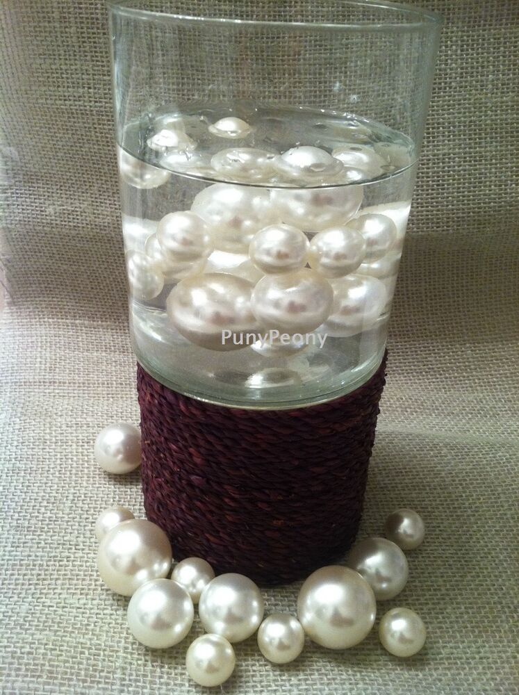 80 Unique Jumbo Ivory White Pearls Vase Fillers Centerpieces Floating Pearl Ebay