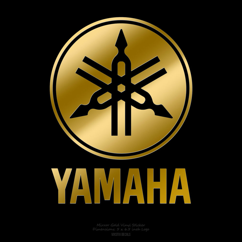 "Yamaha Drums Vertical Logo 5"" x 6 5"" Mirror Gold Logo Sticker Decal"