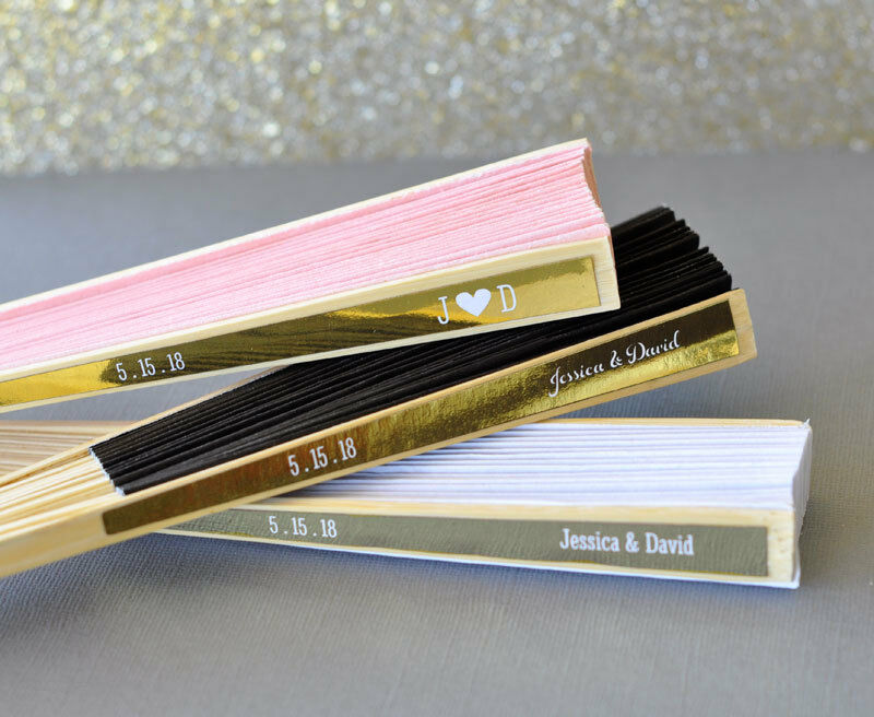 Personalized Colored Paper Wedding Favor Hand Fans With Metallic Foil Labels