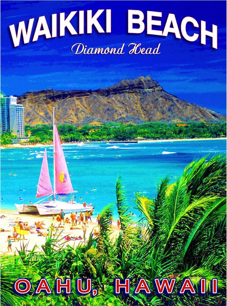 Oahu Hawaii United States  city photos gallery : Hawaii Diamond Head Waikiki Oahu United States Travel Advertisement ...