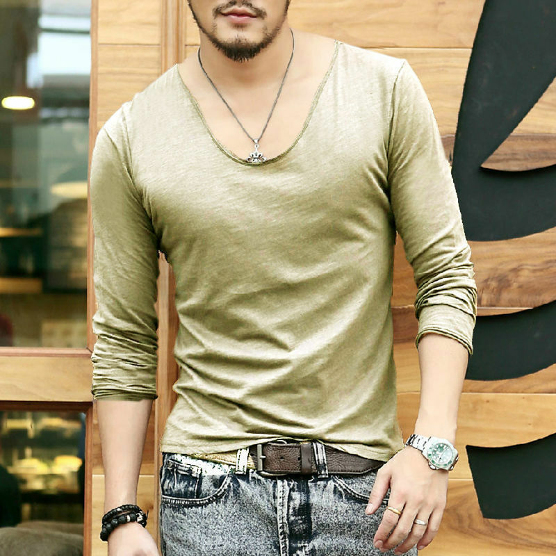 Men 39 S Soft Touch Long Sleeve T Shirts Deep V Neck Sexy