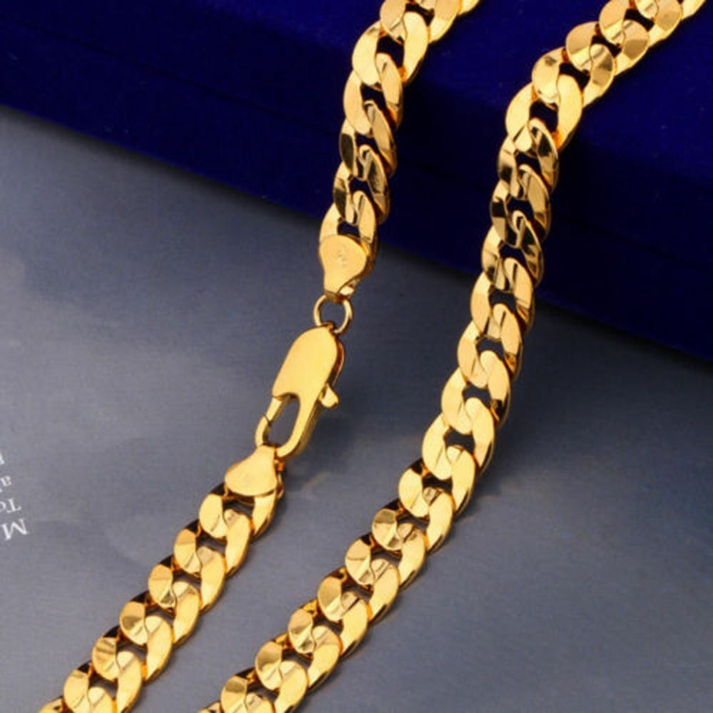 mens womens 20 24k yellow gold filled curb solid chain. Black Bedroom Furniture Sets. Home Design Ideas