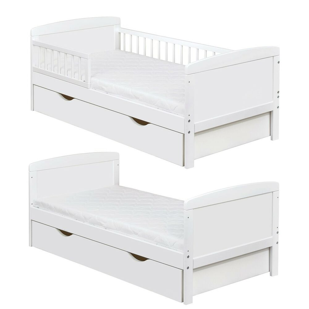 kinderbett juniorbett massivholz in weiss 140x70cm inkl schublade neu ebay. Black Bedroom Furniture Sets. Home Design Ideas