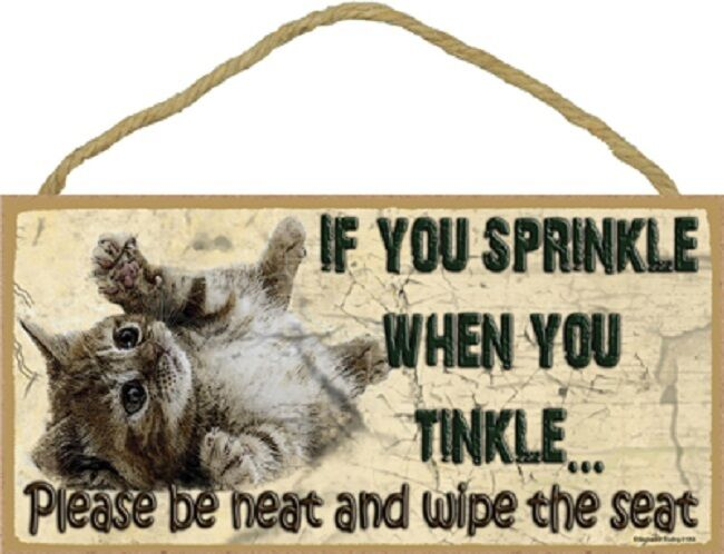 Kitten If You Sprinkle When You Tinkle Bathroom Sign
