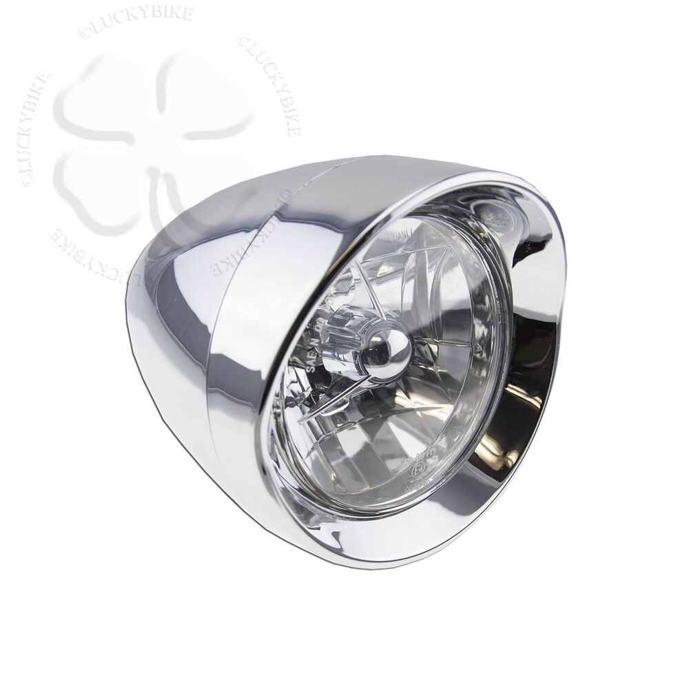 Motorcycle Headlight Assembly : Chrome classic motorcycle head light lamp assembly chopper