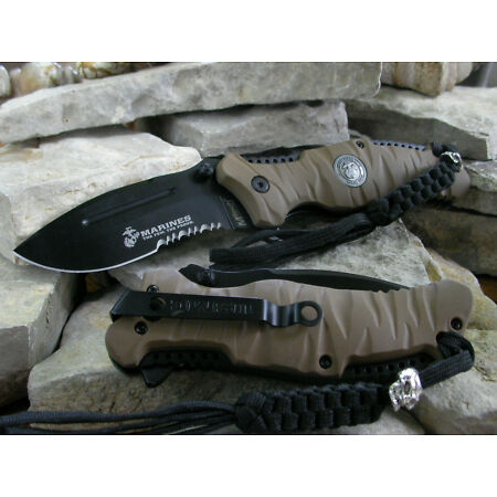 img-Couteau USMC Marines Tactical Reaper A/O Lame Acier 440C Serrated USMA1020BT