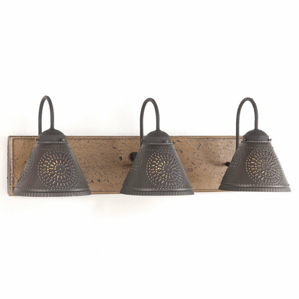 Vanity Light Wood Metal With Punched Tin Lamp Shades Rustic Country 3 Light Ebay