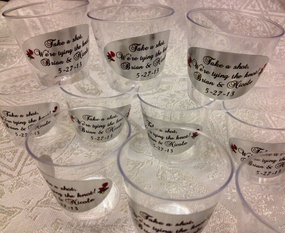 Engraved Wedding Party Gifts: 50 PERSONALIZED 1oz. PLASTIC SHOT CUPS For Bar At Wedding