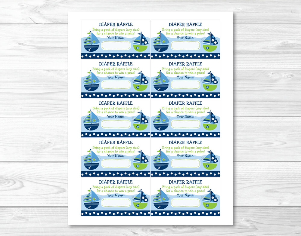 sail away sailboat nautical green printable baby shower diaper raffle tickets ebay