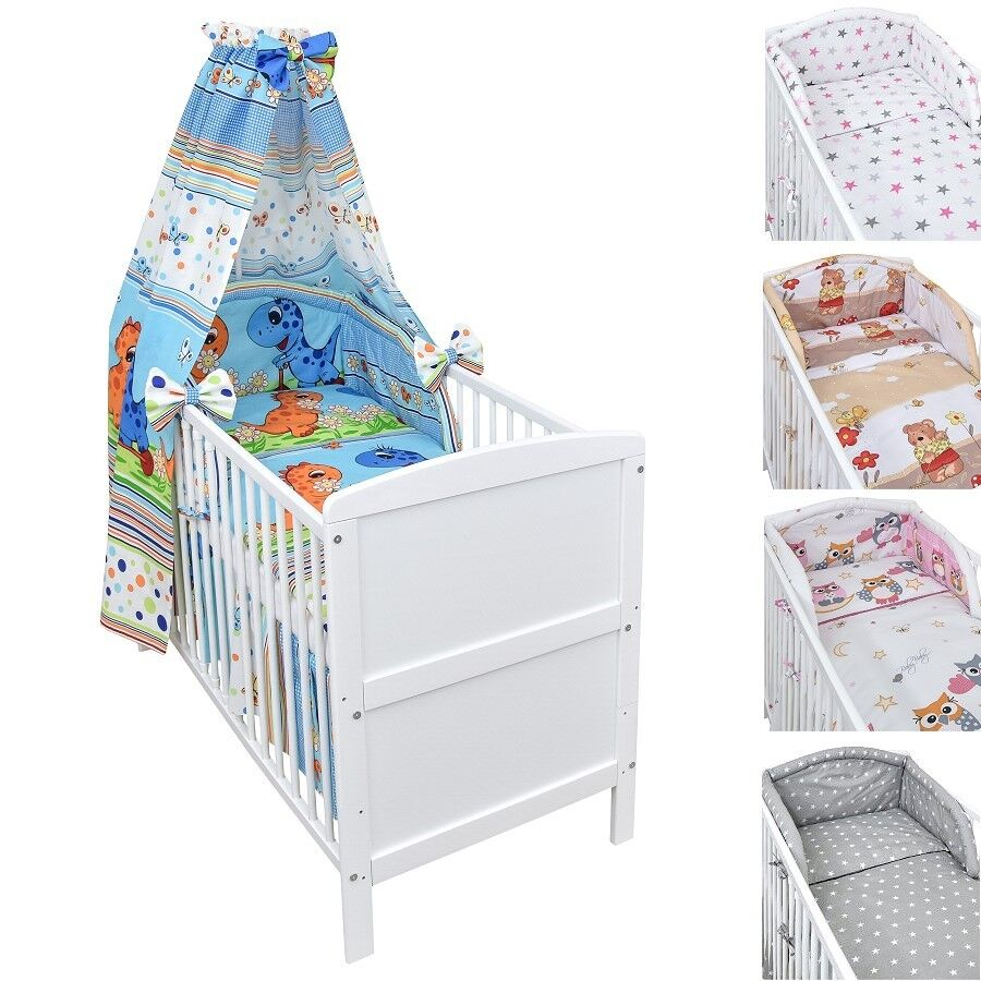 babybett kinderbett juniorbett wei 140x70 matratze 9cm bettset komplett 22 tlg ebay. Black Bedroom Furniture Sets. Home Design Ideas