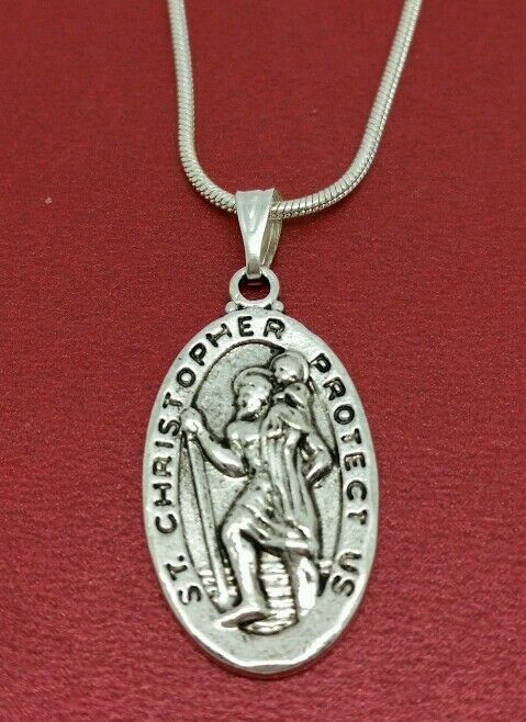 St Christopher Necklace Medal Charm Pendant And Chain