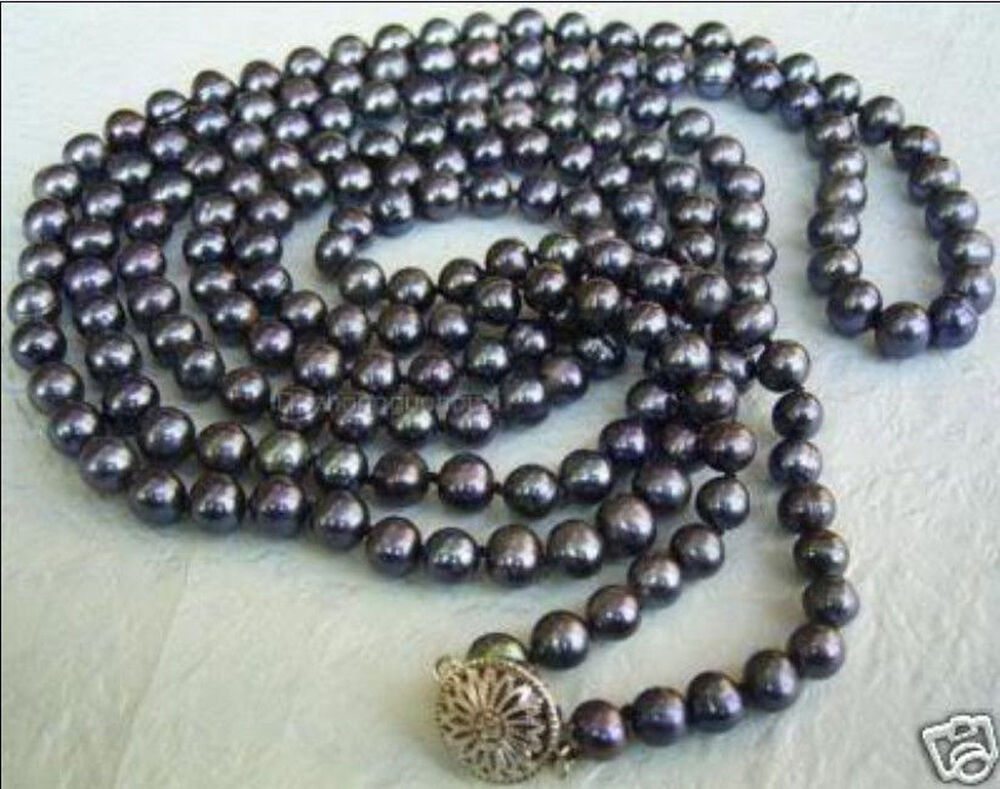 50 Inches Long 6 7mm Black Tahitian Cultured Pearl
