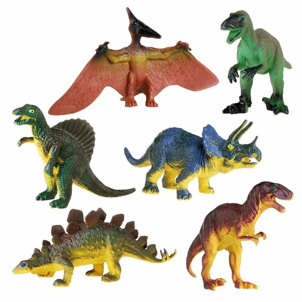 6 X Large Rubber Stuffed Dinosaur Play Toy Animals Action