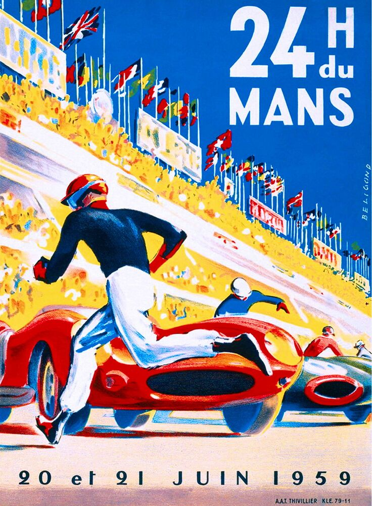 1959 24 hours le mans france automobile race car advertisement vintage poster ebay. Black Bedroom Furniture Sets. Home Design Ideas