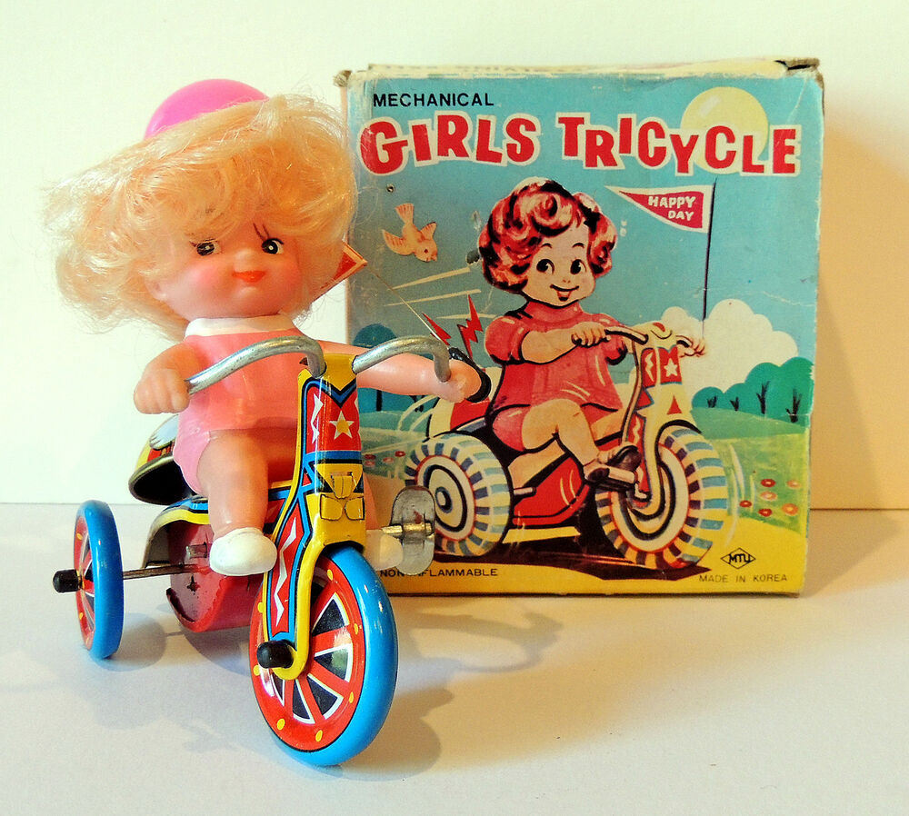 1960 Toys For Boys : Mechanical girls tricycle wind up tin litho toy for