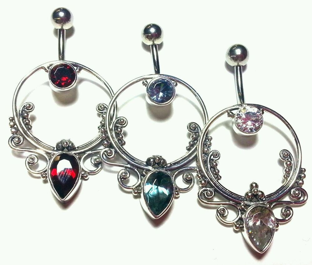 belly button naval belly ring dangle jewelry piercing 14g