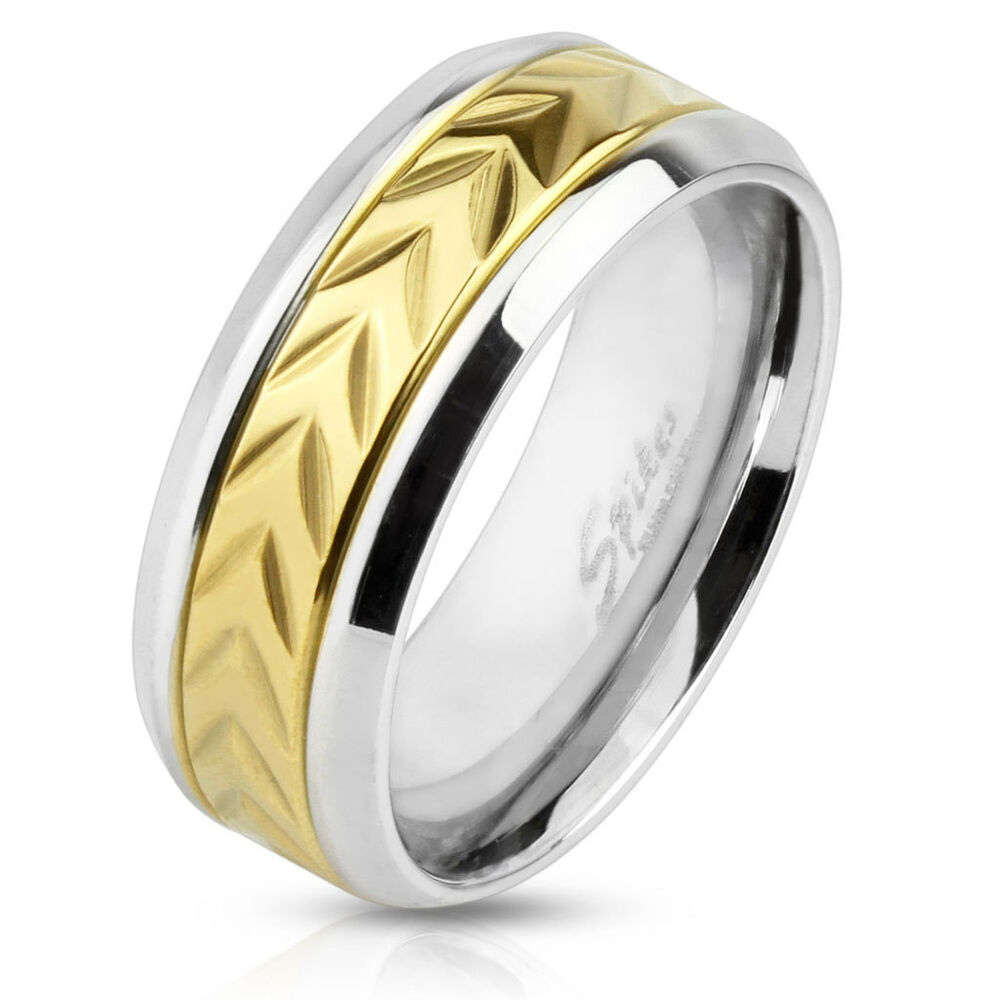 Stainless Steel Mens Wedding Band Ring 8mm: Mens 8mm Stainless Steel Wedding Engagement Band Arrow