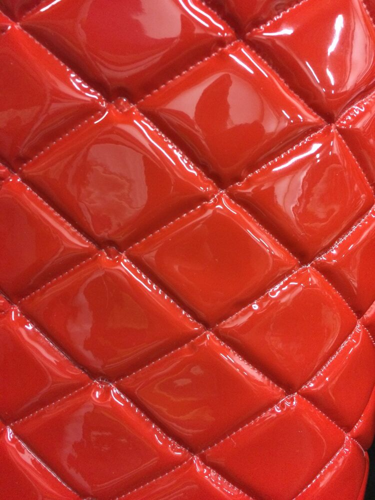 Red patent quilted vinyl fabric with 3 8 foam backing for Red leather fabric