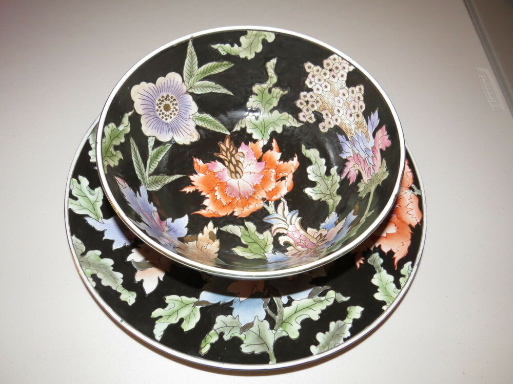 Large vtg china trader multicolored flowers decorative