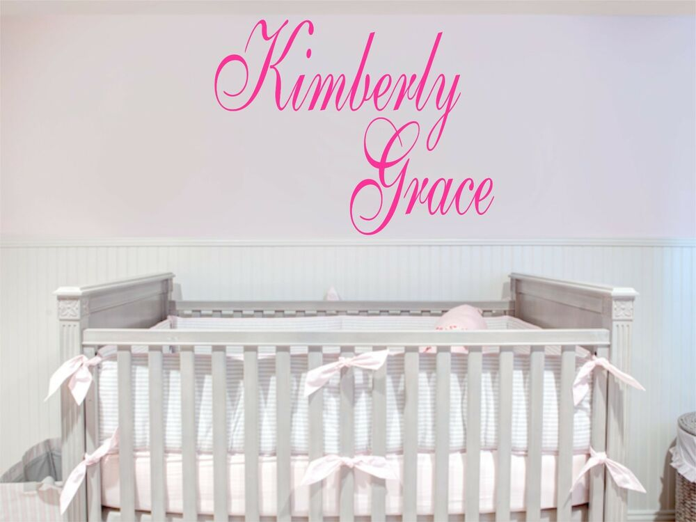 Custom names removable art vinyl wall decal sticker decor for Baby room decoration wall stickers