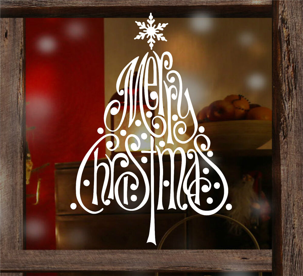 Merry Christmas Snowflake Tree Window Wall Stickers