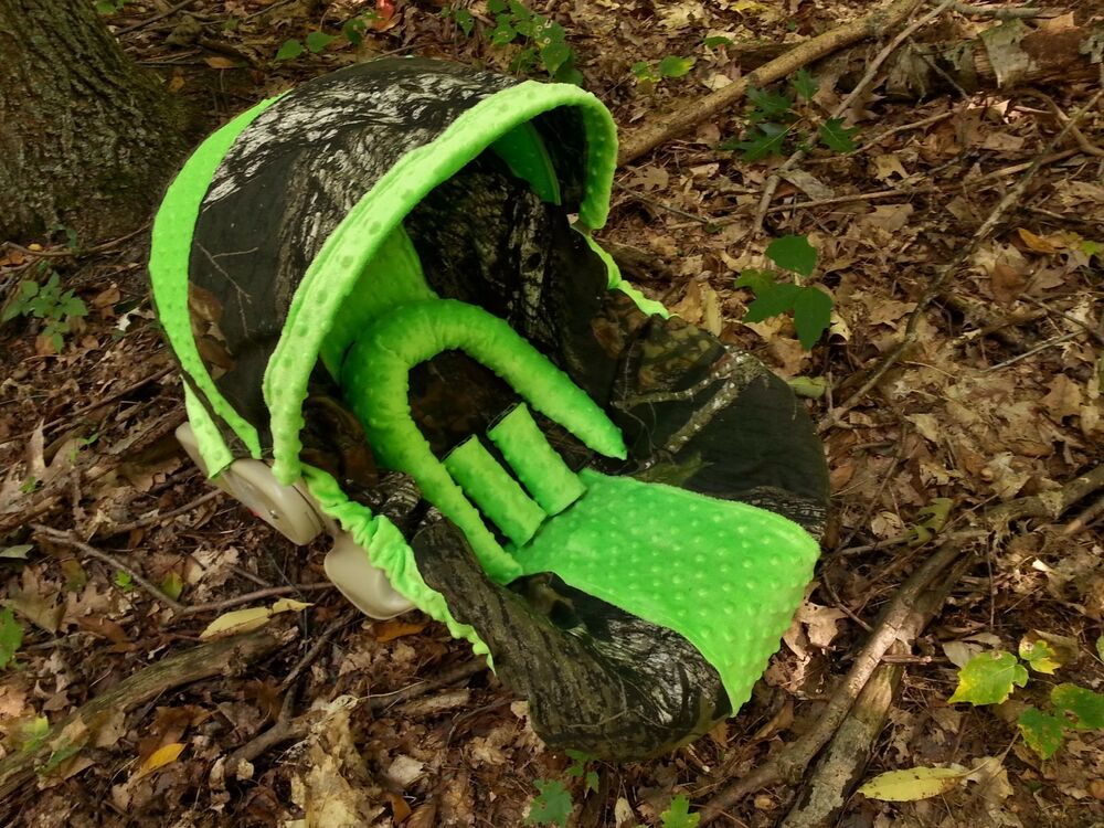 Camo Infant Car Seat Cover Mossy Oak Fabric And Lime Green Minky Ebay