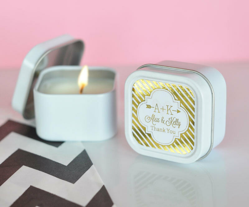 personalized gold silver foil square round candle tin. Black Bedroom Furniture Sets. Home Design Ideas