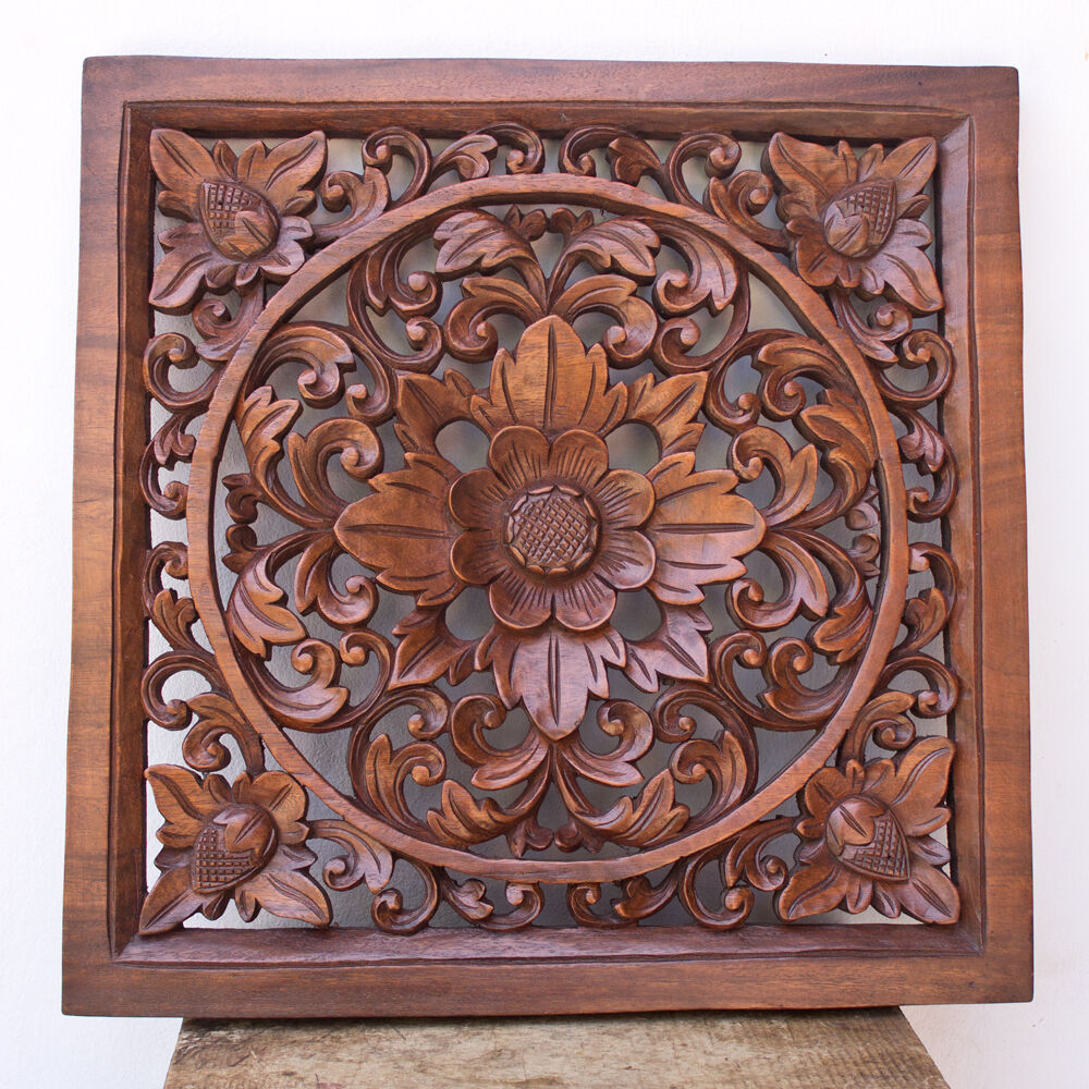 In wood relief panel wall sculpture hand carved lotus