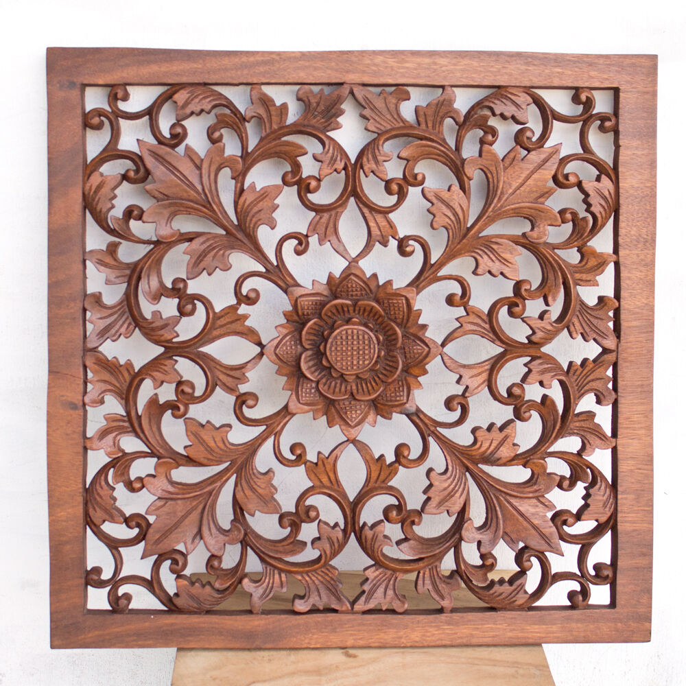 N balinese traditional square lotus flower wooden