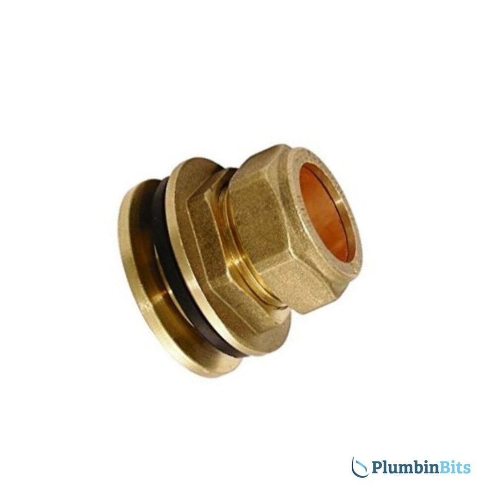 Compression mm brass flanged tank connector fitting with