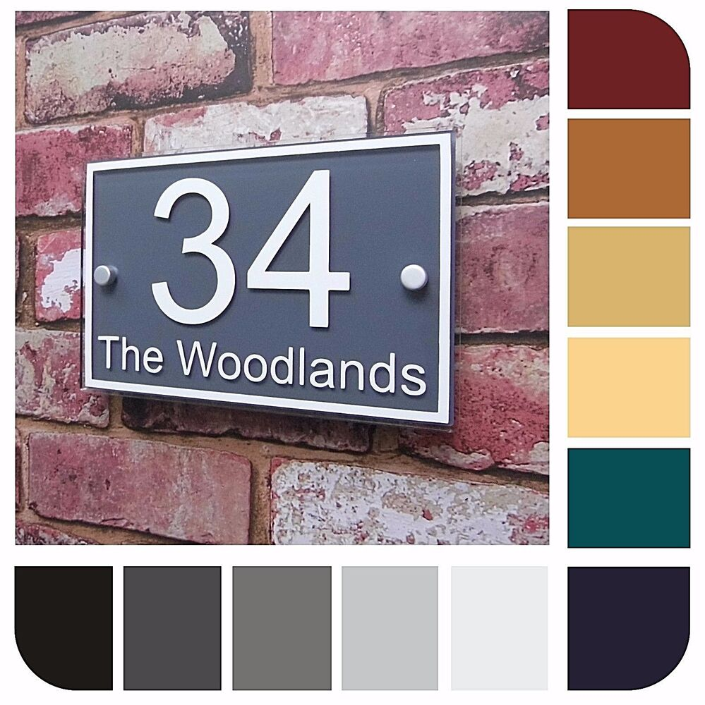 Custom house sign door number street address plaque modern for Modern house number plaques