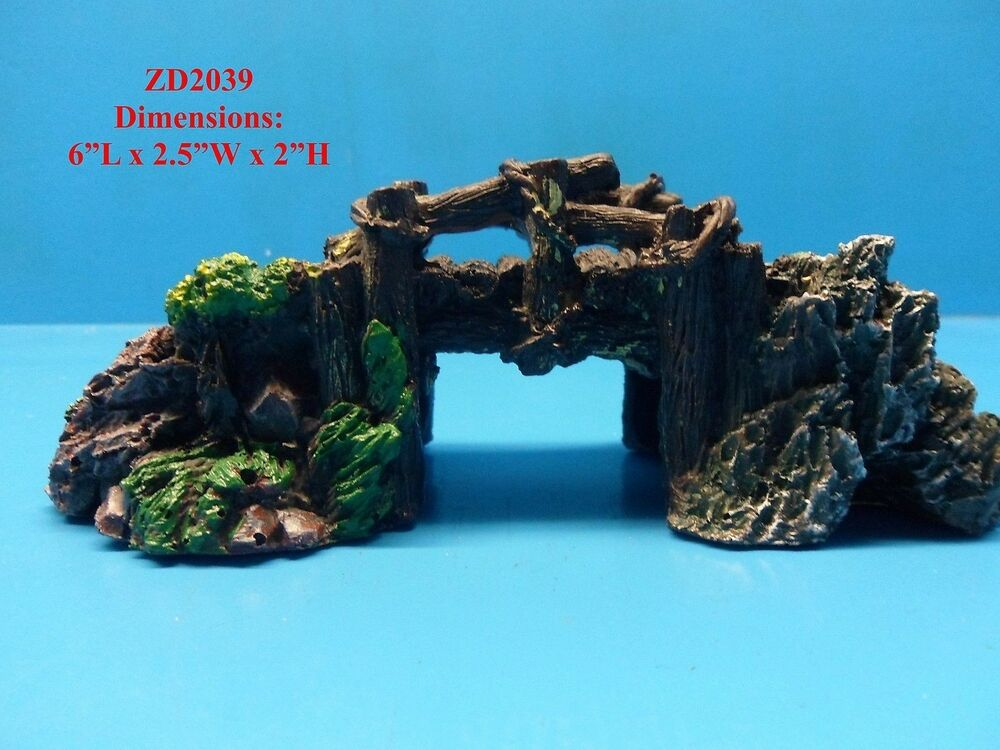 Rustic wood rock bridge zd2039 aquarium decor resin fish for Aquarium bridge decoration