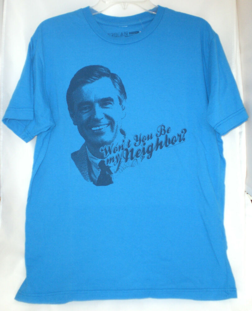 mr rogers mister rogers neighborhood t shirt large new blue ebay. Black Bedroom Furniture Sets. Home Design Ideas