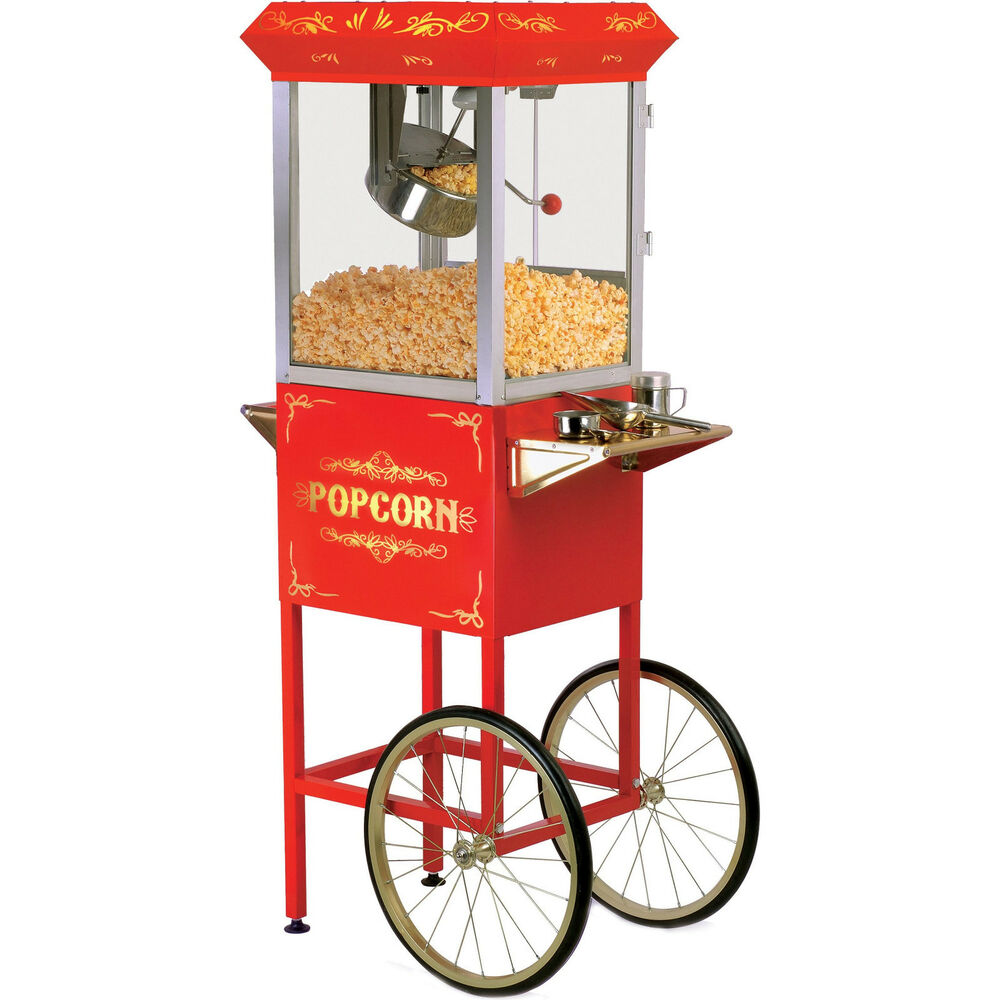 elite 32 cup popcorn machine cart red movie concession oil pop corn stand maker ebay
