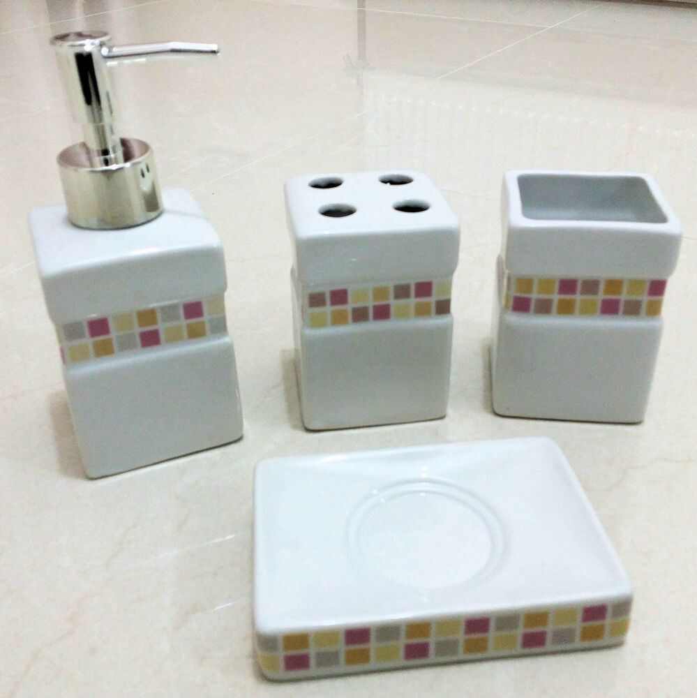 4pc ceramic bathroom accessory set soap dish dispenser toothbrush holder tiles ebay - Bathroom soap dish sets ...