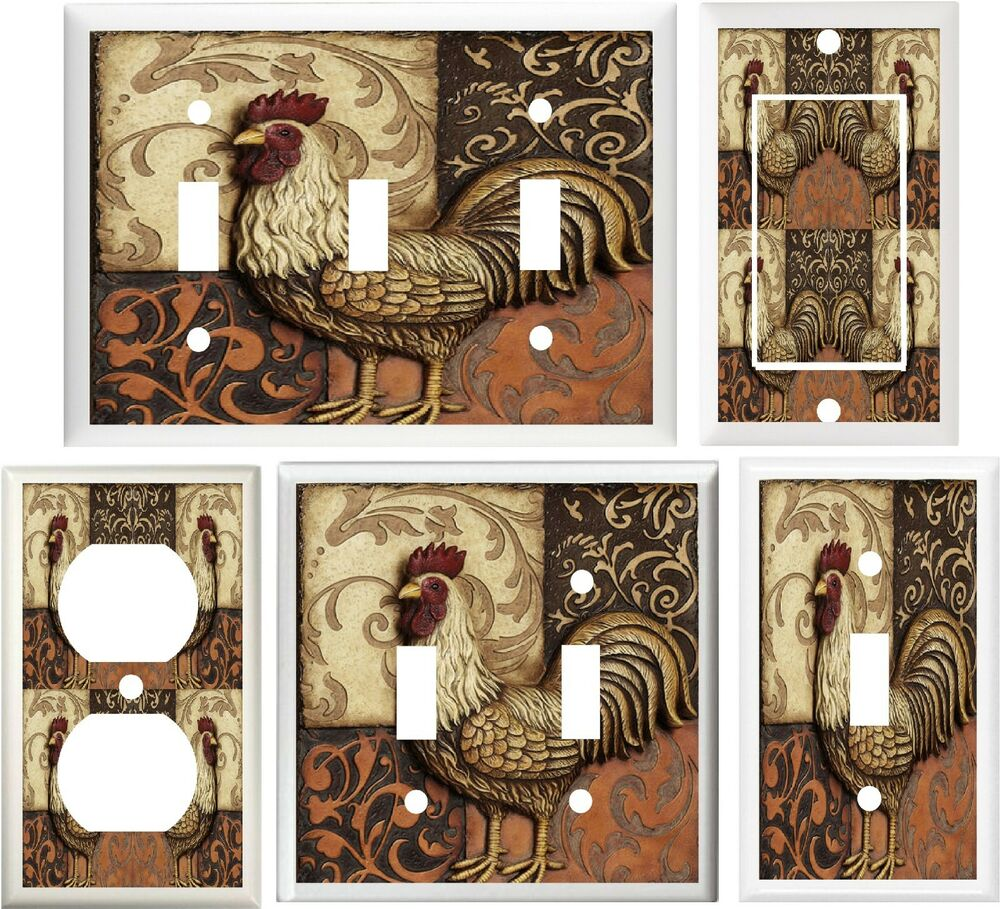 ROOSTER TUSCAN PATCHWORK KITCHEN DECOR LIGHT SWITCH COVER
