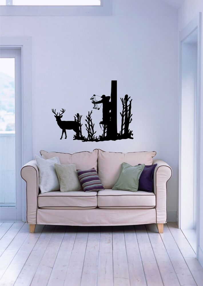 Deer whitetail buck bow hunting hunter wall art home decor for Deer wall mural