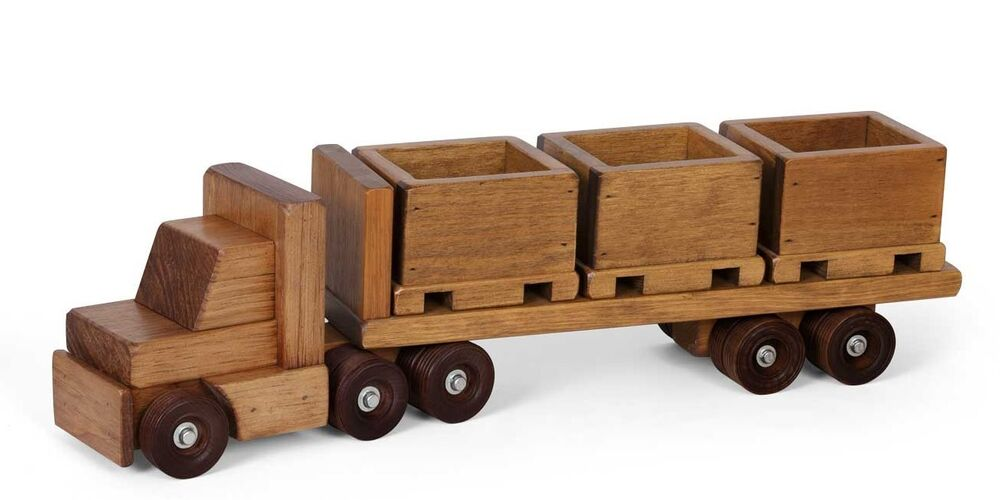 Wood Flatbed Trailer ~ Flatbed tractor trailer wood skid toy truck w crates