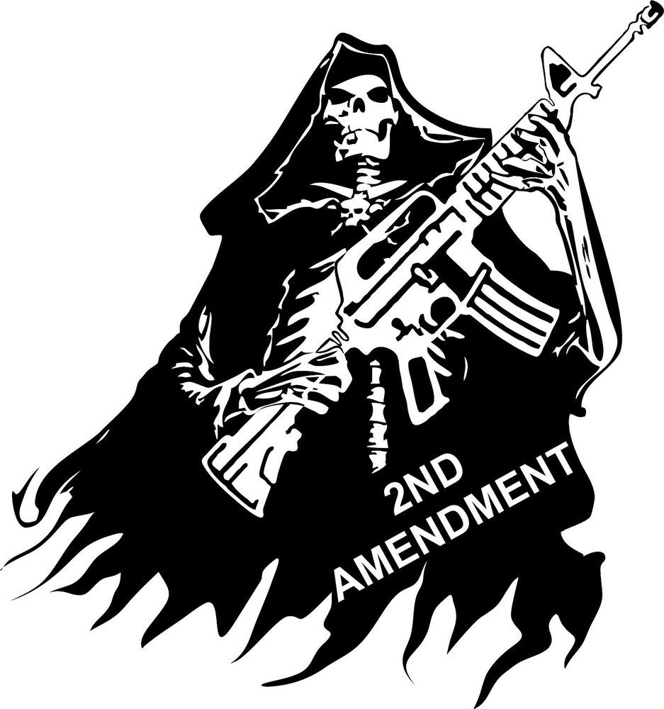 2nd Amendment Skull Grim Reaper Rifle Gun Car Truck Window