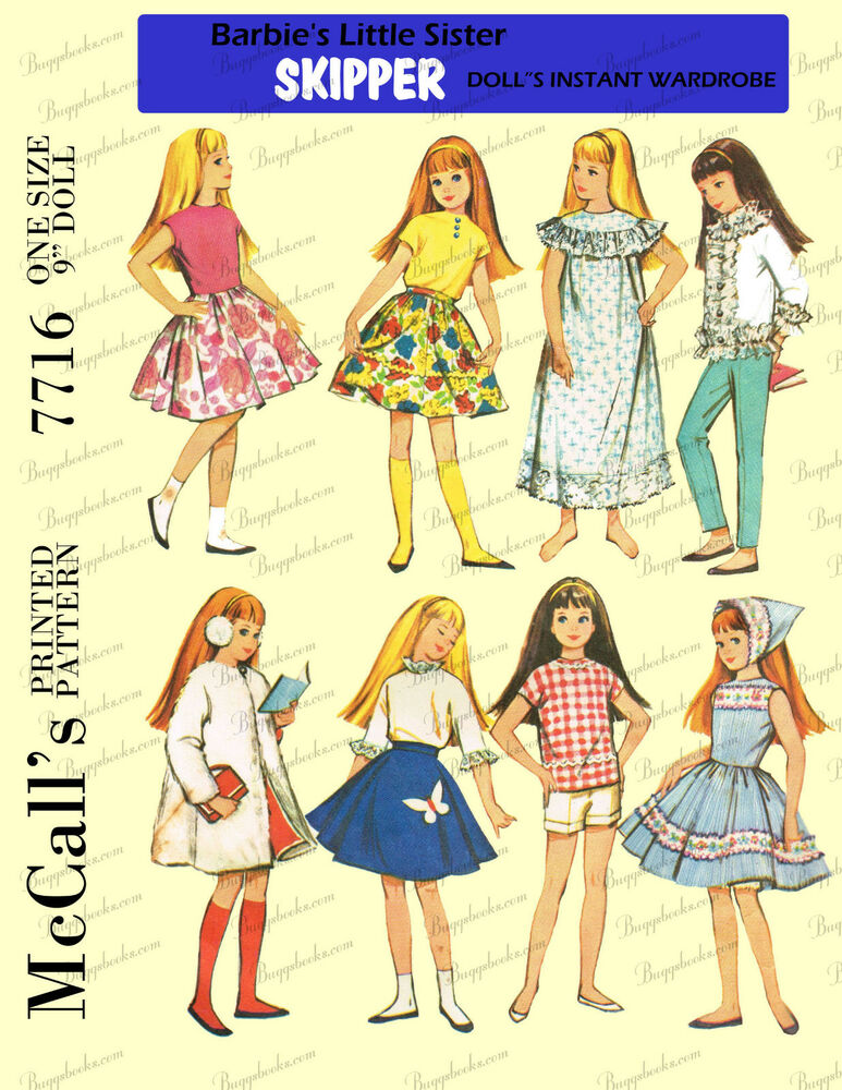 1960's Doll clothes sewing pattern for blythe, skipper and skooter - 9 ...