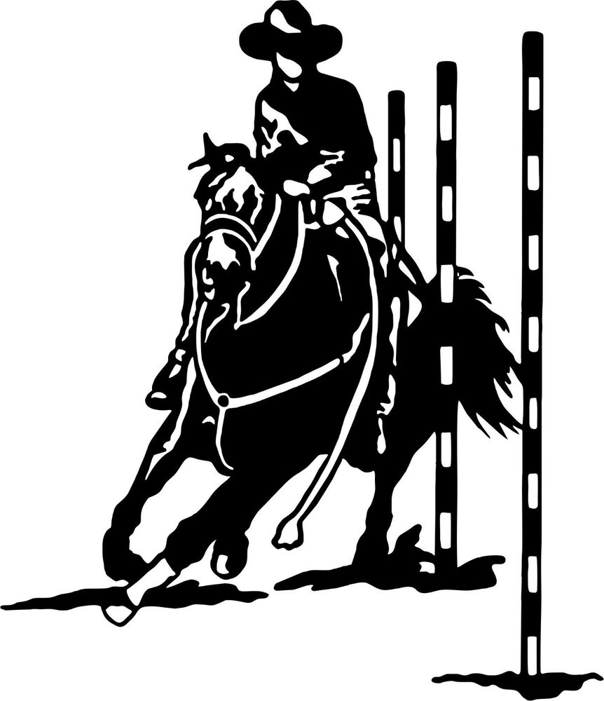 Rodeo Pole Bending Cowboy Cowgirl Horse Car Truck Window