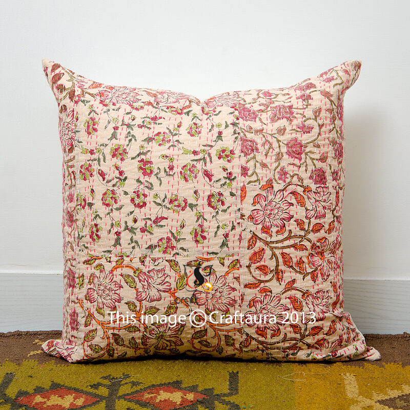 Peach Decorative Throw Pillows : Indian Cushion Cover Decorative hand made Kantha pillow 16